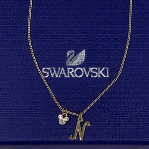 "Swarovski Initial ""N"" Necklace with Minnie Mouse"